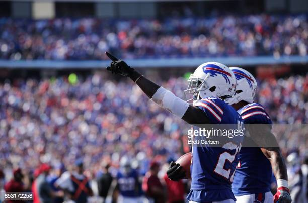 Tre'Davious White of the Buffalo Bills celebrates during an NFL game against the Denver Broncos on September 24 2017 at New Era Field in Orchard Park...