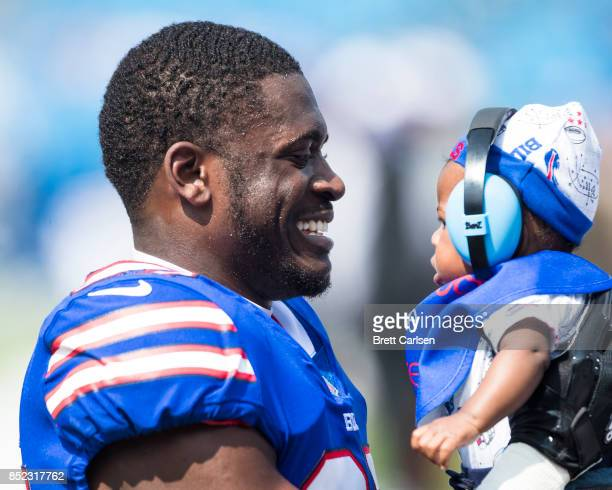 Tre'Davious White of the Buffalo Bills holds his infant sont Tre'Davious Jr before the game against the New York Jets on September 10 2017 at New Era...