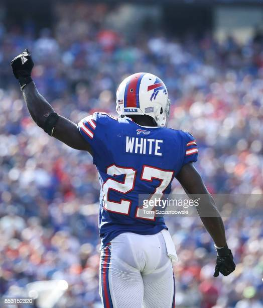 Tre'Davious White of the Buffalo Bills holds up his fist during an NFL game against the Denver Broncos on September 24 2017 at New Era Field in...