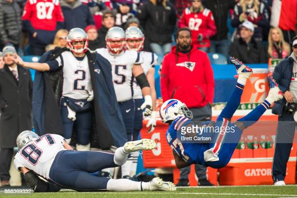 Tre'Davious White of the Buffalo Bills intercepts a pass intended for Rob Gronkowski of the New England Patriots during the second half Gronkowski...