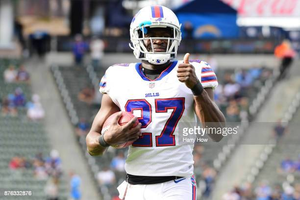 Tre'Davious White of the Buffalo Bills is seen prior to the game against the Los Angeles Chargers at the StubHub Center on November 19 2017 in Carson...