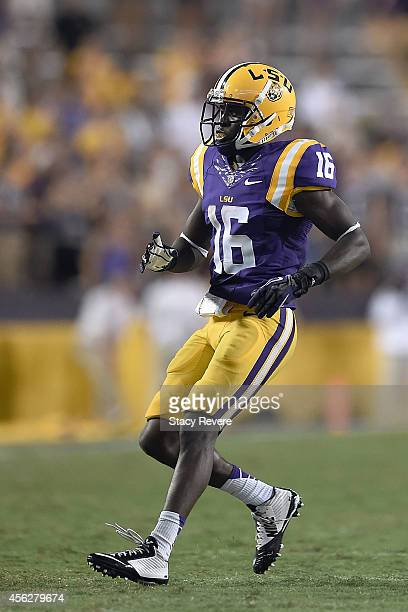 Tre'Davious White of the LSU Tigers anticipates a play during the third quarter of a game against the New Mexico State Aggies at Tiger Stadium on...