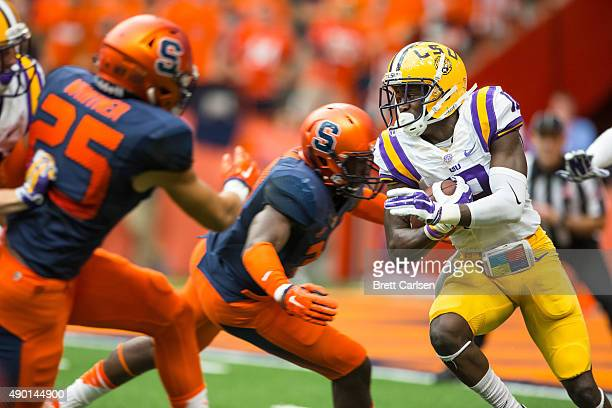 Tre'Davious White of the LSU Tigers carries the ball during the first quarter against the Syracuse Orange on September 26 2015 at The Carrier Dome in...