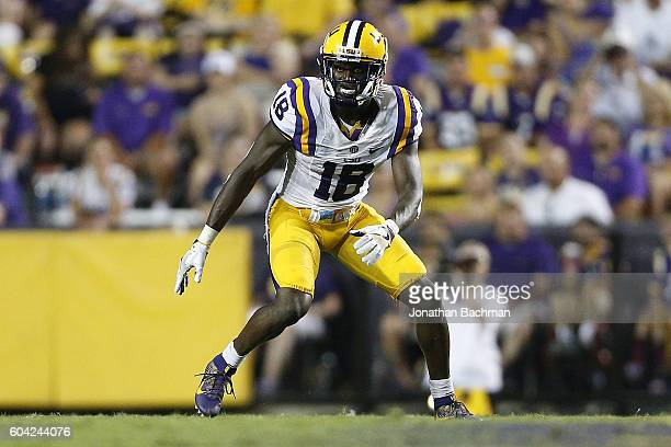 Tre'Davious White of the LSU Tigers defends during a game at Tiger Stadium on September 10 2016 in Baton Rouge Louisiana