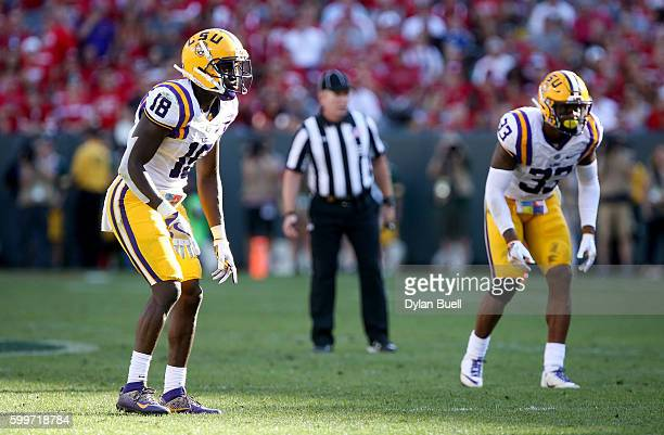 Tre'Davious White of the LSU Tigers lines up as a cornerback in the third quarter against the Wisconsin Badgers at Lambeau Field on September 3 2016...