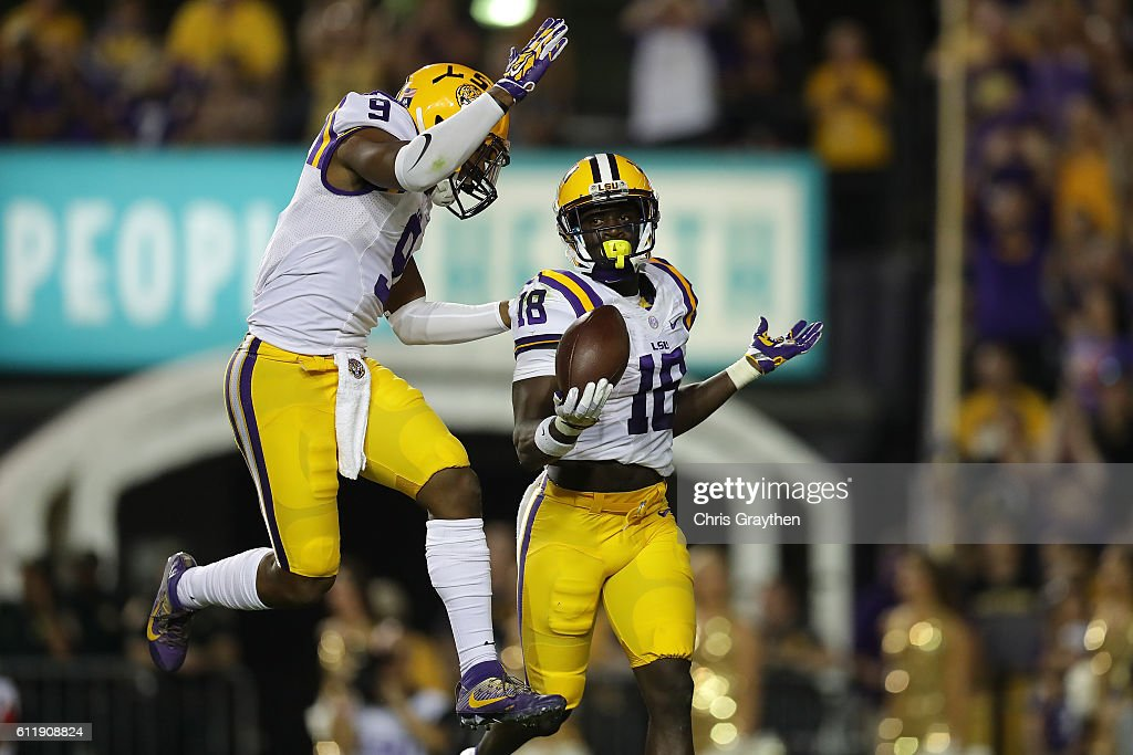 Tre'Davious White #18 of the LSU Tigers reacts after an interception against the Missouri Tigers at Tiger Stadium on October 1, 2016 in Baton Rouge, Louisiana.