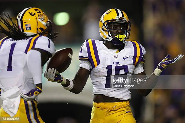 Tre'Davious White of the LSU Tigers reacts after an interception against the Missouri Tigers at Tiger Stadium on October 1 2016 in Baton Rouge...