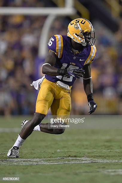 Tre'Davious White of the LSU Tigers reacts to a play during a game against the New Mexico State Aggies at Tiger Stadium on September 27 2014 in Baton...
