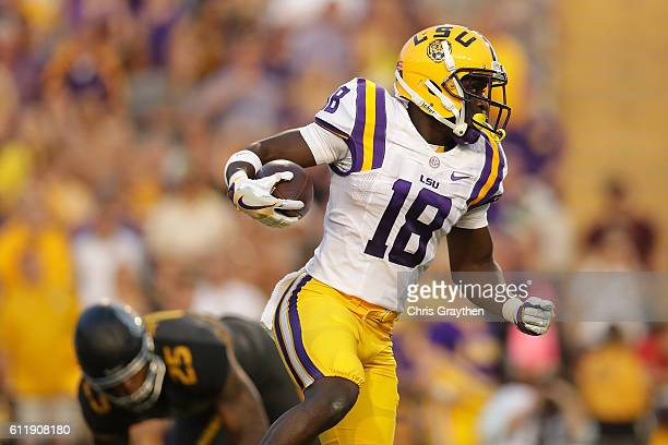 Tre'Davious White of the LSU Tigers runs with the ball against the Missouri Tigers at Tiger Stadium on October 1 2016 in Baton Rouge Louisiana
