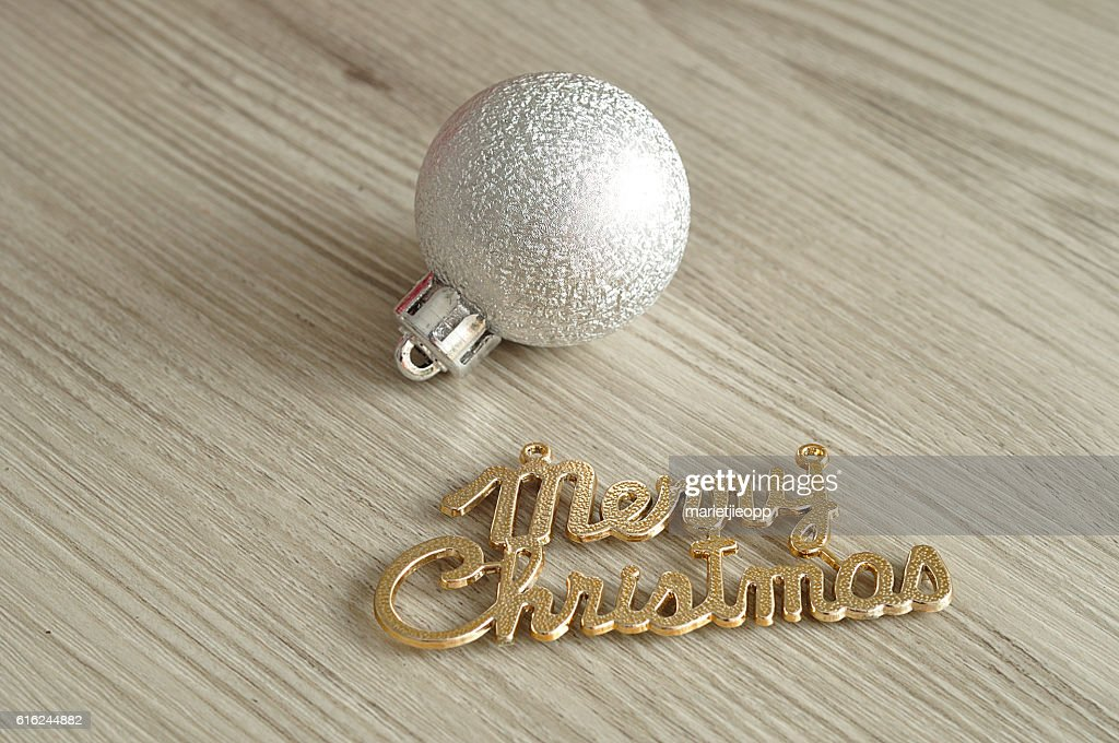 Tree bauble and merry christmas : Stock-Foto