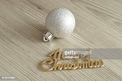 Tree bauble and merry christmas : Foto de stock