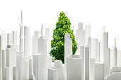 tree between  the white buildings made of paper