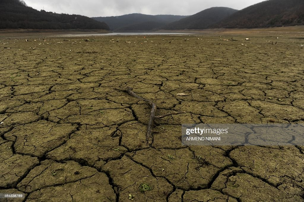 A tree branch lies in the dry bed of Badovc artificial lake on January 22, 2014. The water level in the Badovc lake, which supplies Pristina and surrounding towns has fallen dramatically, threatening to leave hundreds of thousands of people without water supply. AFP PHOTO / ARMEND NIMANI