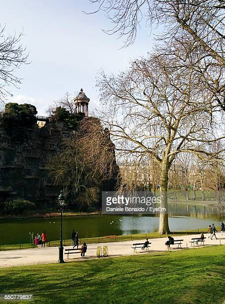 Tree By Pond At Buttes Chaumont Park Against Sky