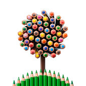 Tree shaped made of colored pencils.