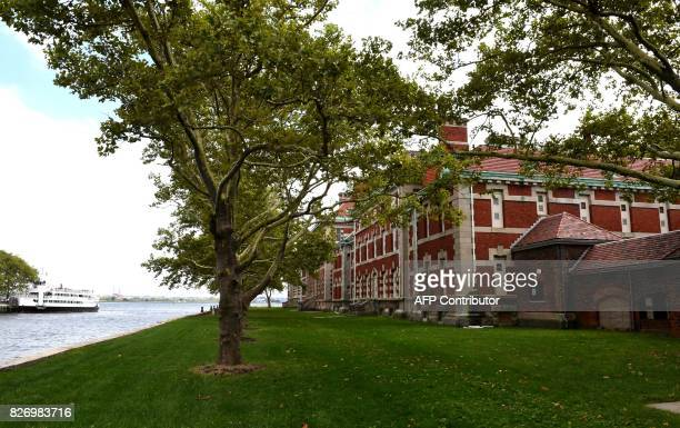 A tree stands outside one of the buildings of the The Ellis Island Hospital on August 5 a 750bed facility which treated over 12 million patients and...