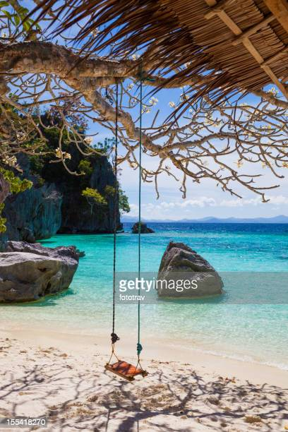 Tree, swing and shadow on Banol beach in Coron, Philippines