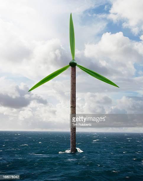 Tree Wind Turbine out at sea.