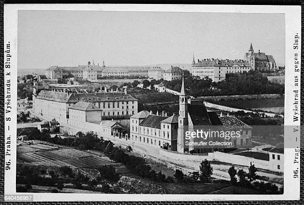 Treelined lawns surround the Church of Our Lady situated beside the general hospital in Prague Czech Lands ca 1865