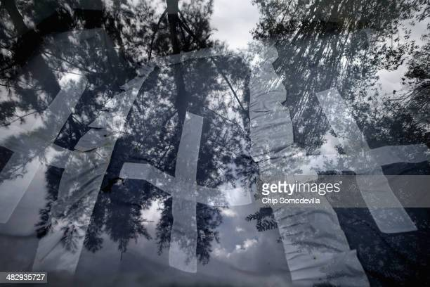 Trees are reflected in the window of one of the tombs that holds the remains of 250000 genocide victims at the Kigali Genocide Memorial Centre April...