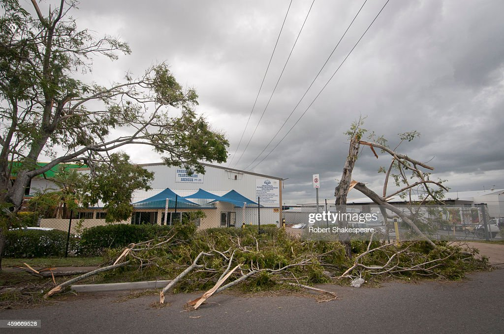 Trees are seen on the road on November 28 2014 in Brisbane Australia Thousands of Queensland residents have been left without power after the worst...
