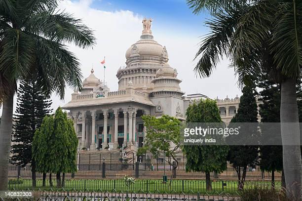 Trees in front of a government building, Vidhana Soudha, Bangalore, Karnataka, India