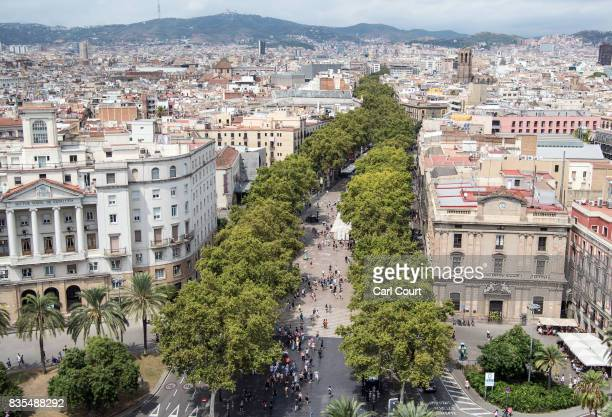 Trees line the Las Ramblas throughfare on August 19 2017 in Barcelona Spain A nationwide manhunt continues for Younes Abouyaaqoub now named by...
