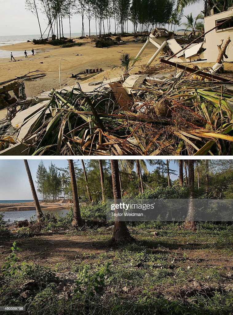 In this composite image a comparison has been made between a scene in 2004 and 2014 Debris litters the beach at the Theptharo Resort where many...