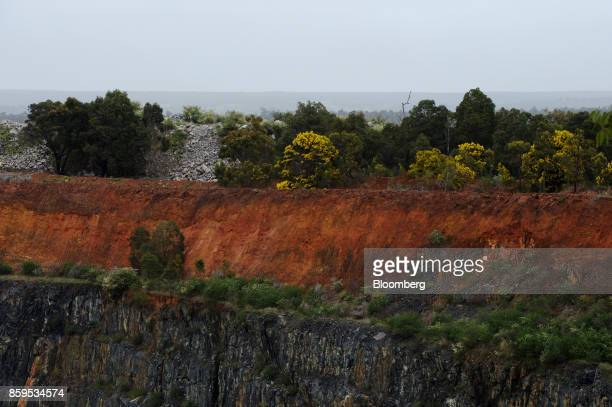 Trees stand along an open pit mine at a Talison Lithium Ltd site a joint venture between Tianqi Lithium Corp and Albemarle Corp in Greenbushes...