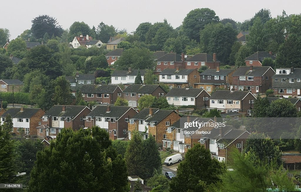 Trees surround an area of residential housing on August 14 2006 in High Wycombe England Detectives are conducting a major search for evidence at...