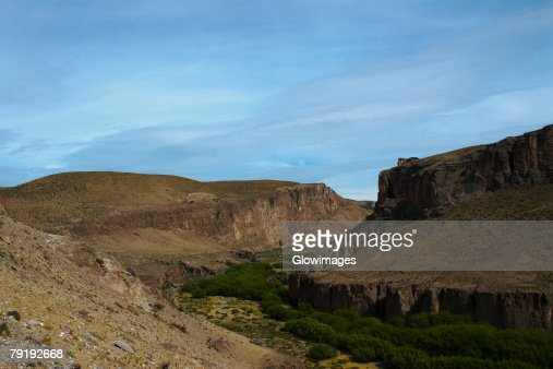 Trees surrounded by mountains, Pinturas River, Patagonia, Argentina : Stock Photo