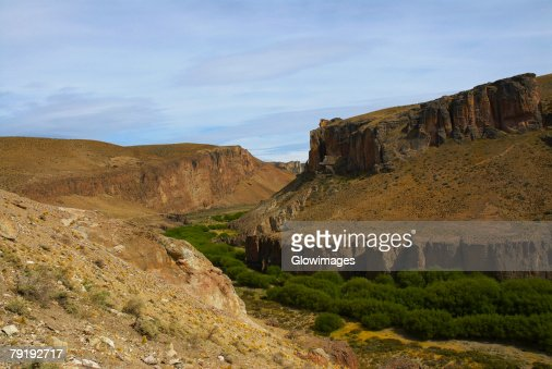 Trees surrounded by mountains, Pinturas River, Patagonia, Argentina : Foto de stock