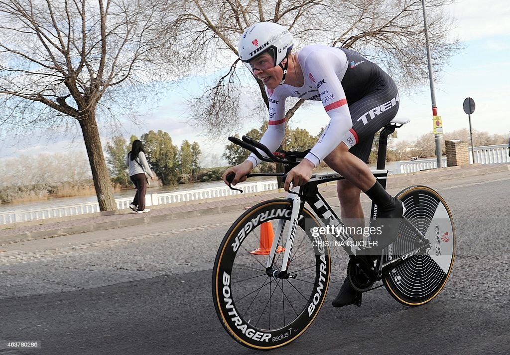 Trek Factory Racing's Luxembourgish cyclist <a gi-track='captionPersonalityLinkClicked' href=/galleries/search?phrase=Bob+Jungels&family=editorial&specificpeople=8910054 ng-click='$event.stopPropagation()'>Bob Jungels</a> rides during the second half first stage of the 61 Vuelta a Andalucia-Ruta del Sol tour, an 8.2 km time trial around Coria del Rio, on February 18, 2015. AFP PHOTO / CRISTINA QUICLER