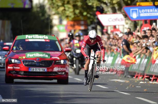 Trek Segafredo's Spanish cyclist Alberto Contador sprints at the end of the 16th stage of the 72nd edition of 'La Vuelta' Tour of Spain cycling race...