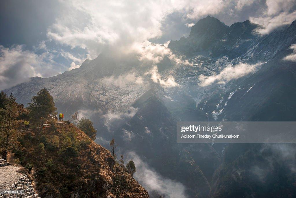 Trekker trail from Namche Bazaar to Dingboche  villagee, Everest region