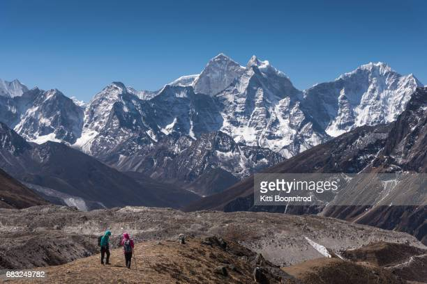 Trekkers walking on the way to Everest base camp, Nepal