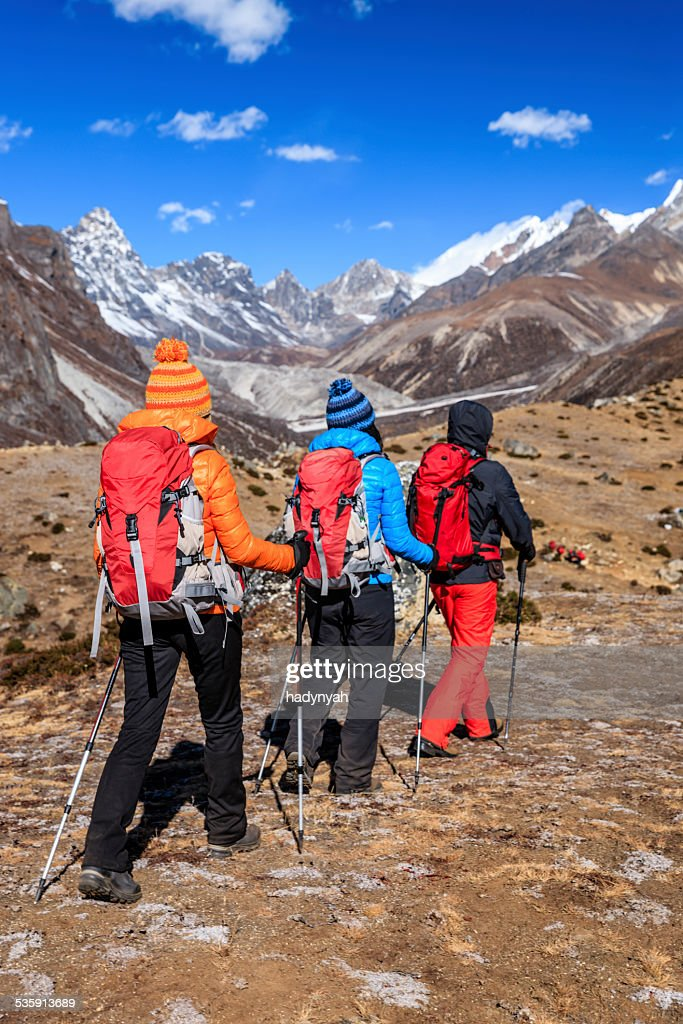 Trekking na Himalaias, Parque Nacional do Monte Everest : Foto de stock