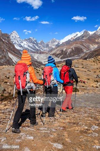 Trekking in Himalayas, Mount Everest National Park : Stock Photo