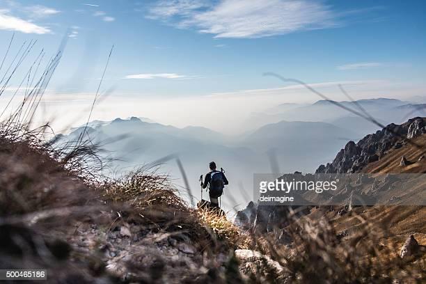Trekking on mountain trails