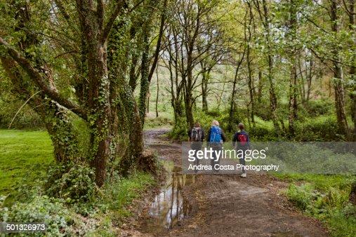 Trekking pilgrims to Santiago de Compostela