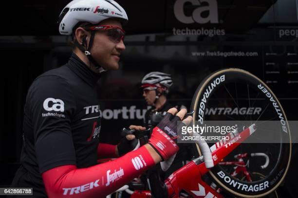 TrekSegafredo Austrian cyclist Matthias Brandle checks his bike prior to the last stage of the 'Ruta del Sol' tour a 1515 km ride from Setenil de las...
