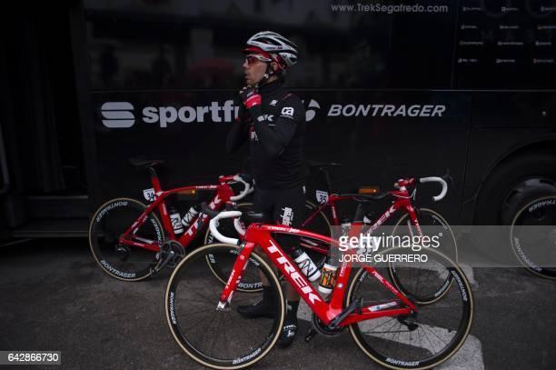 TrekSegafredo Portuguese cyclist Andre Cardoso adjusts his helmet prior to the last stage of the 'Ruta del Sol' tour a 1515 km ride from Setenil de...