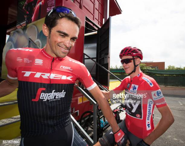 TOPSHOT TrekSegafredo Spanish cyclist Alberto Contador and Sky's British cyclist Chris Froome prior to the start of the 5th stage of the 72nd edition...