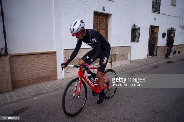TrekSegafredo Spanish cyclist Alberto Contador rides prior to the last stage of the 'Ruta del Sol' tour a 1515 km ride from Setenil de las Bodegas to...