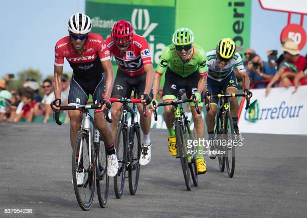 TrekSegafredo Spanish cyclist Alberto Contador Sky's British cyclist Chris Froome Cannondale's Canadian cycist Michael Woods and OricaScott team's...