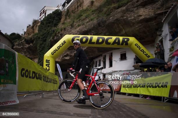 TrekSegafredo Spanish cyclist Haimar Zubeldia poses on his bicycle prior to the last stage of the 'Ruta del Sol' tour a 1515 km ride from Setenil de...