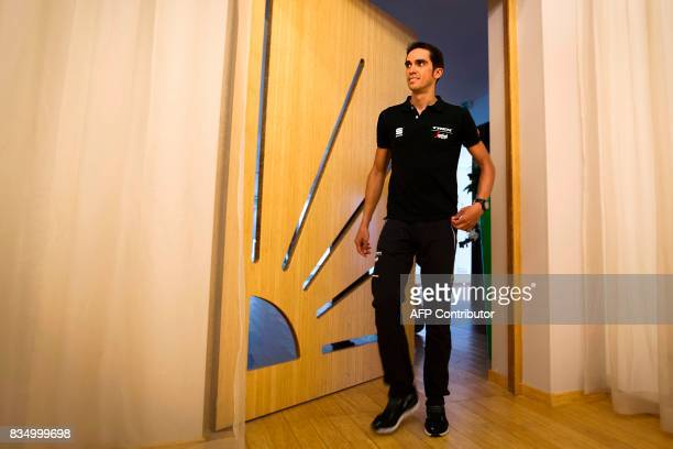 TrekSegafredo team's Spanish cyclist Alberto Contador arrives for a press conference on August 18 2017 in Nimes southern France ahead of the 72nd...