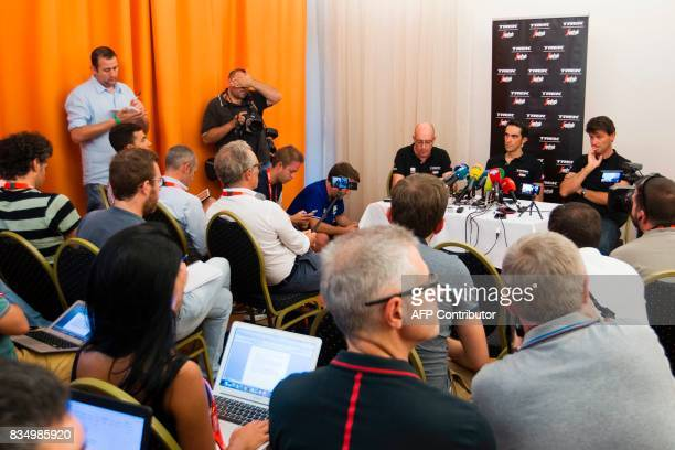 TrekSegafredo team's Spanish cyclist Alberto Contador takes part in a press conference on August 18 2017 in Nimes southern France ahead of the 72nd...