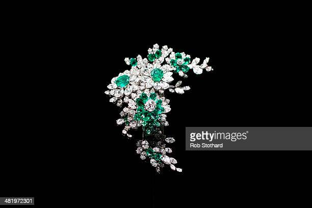 A 'Tremblant' brooch by Bulgari given to actor Elizabeth Taylor by her fourth husband Eddie Fisher on display at the Victoria and Albert Museum on...