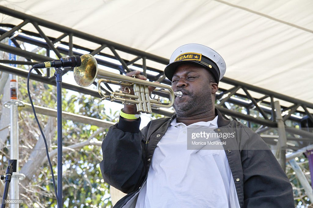 Treme Brass Band trumpeter Kenneth Terry performs during the Verizon Super Bowl Boulevard at Woldenberg Park on February 3, 2013 in New Orleans, Louisiana.